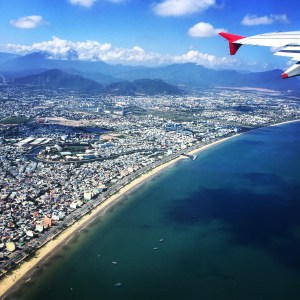 flying over Da Nang Vietnam