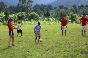 playing soccer in Uganda