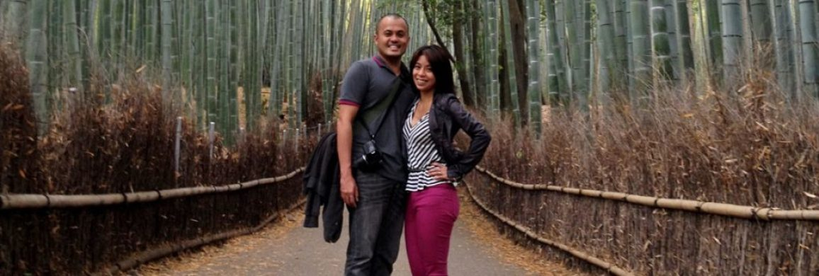 Dwarfed by bamboo, Arashiyama Bamboo Groves, Kyoto, Japan