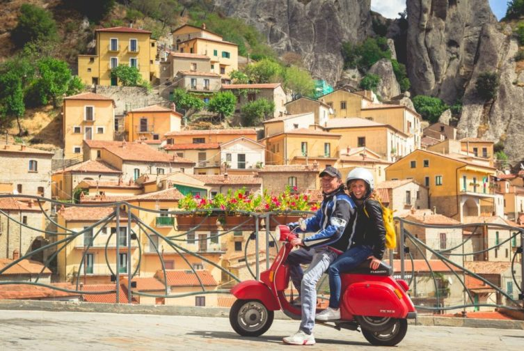 Riding around on a local's Vespa in Basilicata, Italy