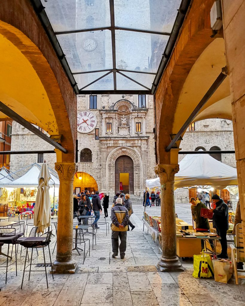 Entrance to Ascoli Piceno Main Square, the homebase for touring with The Italian on Tour