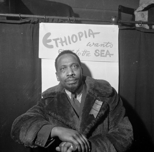 10th November 1945: Kenyan statesman Jomo Kenyatta (1891 - 1978) attends the first Pan-African Congress in Manchester. After a spell in prison for his alleged leadership of the Mau Mau Rebellion, Kenyatta became the first president of the Republic Kenya in 1964. Original Publication: Picture Post - 3024 - Africa Speaks in Manchester - pub. 1945  (Photo by John Deakin/Picture Post/Getty Images)