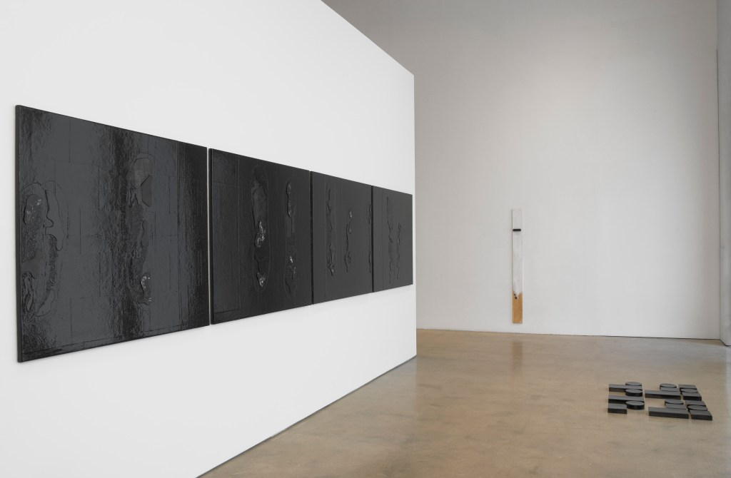 Blackness in Abstraction Installation at Pace Gallery 537 West 24th Street, New York, NY June 27 - August 19, 2016 From left: Gallagher, Negros Battling in a Cave, 2016, #63023; Negros Battling in a Cave, 2016, #63100; Negros Battling in a Cave, 2016, #63101; Negros Battling in a Cave, 2016, #63102; Pope.L, Render, 2016, #63177;  Pendleton, Untitled (code poem Los Angeles), 2010-2016, #62731.EC view 2 Photographer: Kerry Ryan McFate