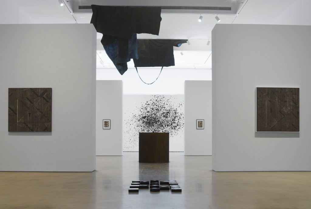 Blackness in Abstraction Installation at Pace Gallery 537 West 24th Street, New York, NY June 27 - August 19, 2016 From left: Whitten, Epsilon Series I, 1976, #63046; Murillo, II - for the souls of the rotten mighty, 2016, #63924; I - for the souls of the rotten mighty, 2016, #63037; Araeen, Series A (1)- A (6), 1961, #63007 (Detail); Mutu, Throw, 2106, #63038.EC (Detail); Jianguo, One Cubic Metre of Absolute Darkness, 2012, #63026; Pendleton, Untitled (code poem), 2016, #62732.EC; Whitten, Epsilon Series II, 1976, #63047 view 11 Photographer: Kerry Ryan McFate