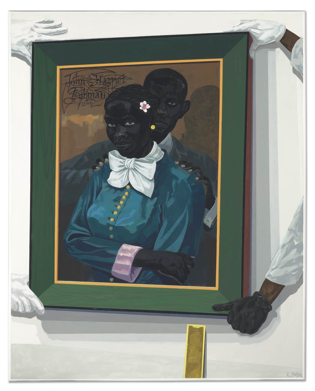 By kerry james marshall sold for more than 5 million last night at christies new york titled still life with wedding portrait the painting depicts