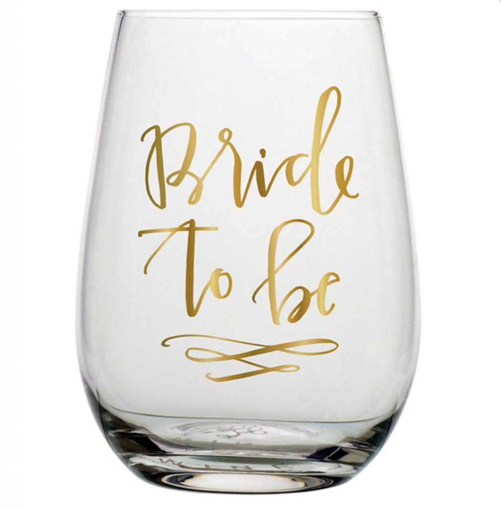 stemless wine glass for the newly engaged bride