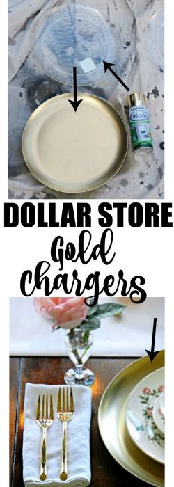 DIY Gold charger plates for your wedding. DIY Wedding decoration from the dollar store. Affordable wedding decoration ideas. Dollar Store Home Decor DIY! How to plan a wedding on a budget. Brides on a budget. How to decorate on a frugal budget. #weddingdecor #budgetwedding how to save money on a wedding.