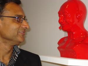 Prajit Datta with sculpture by Debanjan Roy Aicon Gallery Mayfair