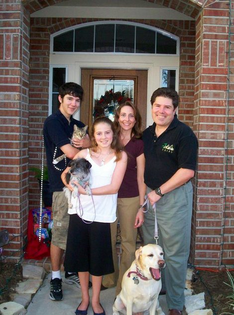 Family photo outside our house in Cinco Ranch, Katy TX