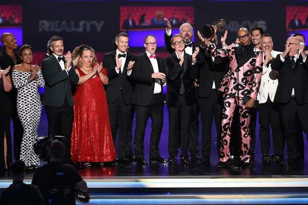 RuPaul and the RuPaul's Drag Race Team accept the Emmy for Outstanding Reality-Competition Program.