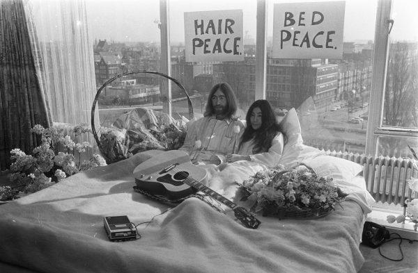 Yoko Ono and John Lennon in their hotel room in Amsterdam