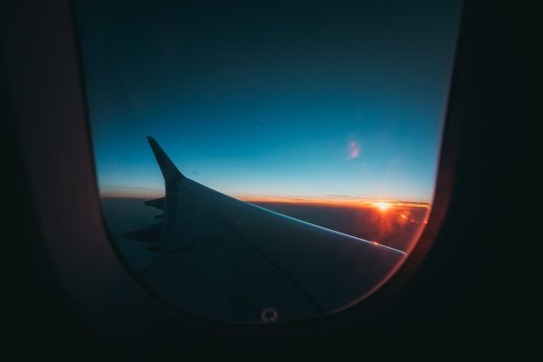 View from the inside of an airplane.