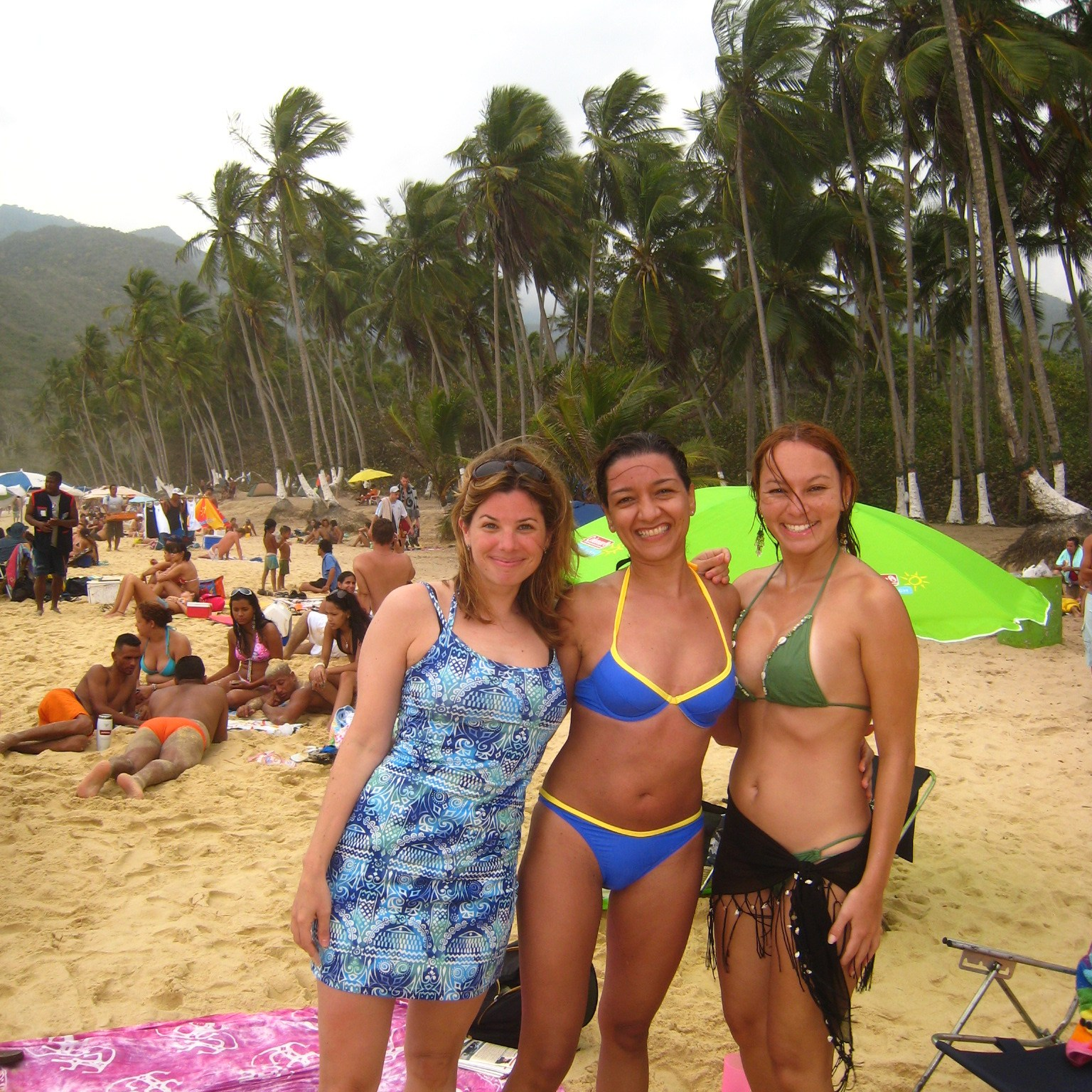 Rebecca Soffer and friends on the beach in Venezuela