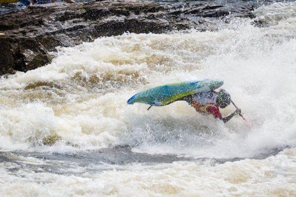 Sadat Kawawa at his first international competition freestyle kayaking world championship in Ontario, Canada