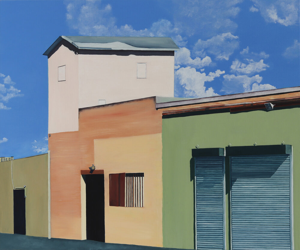 Oil painting of connected buildings or garages, with open doors and a background of blue, cloudy sky.