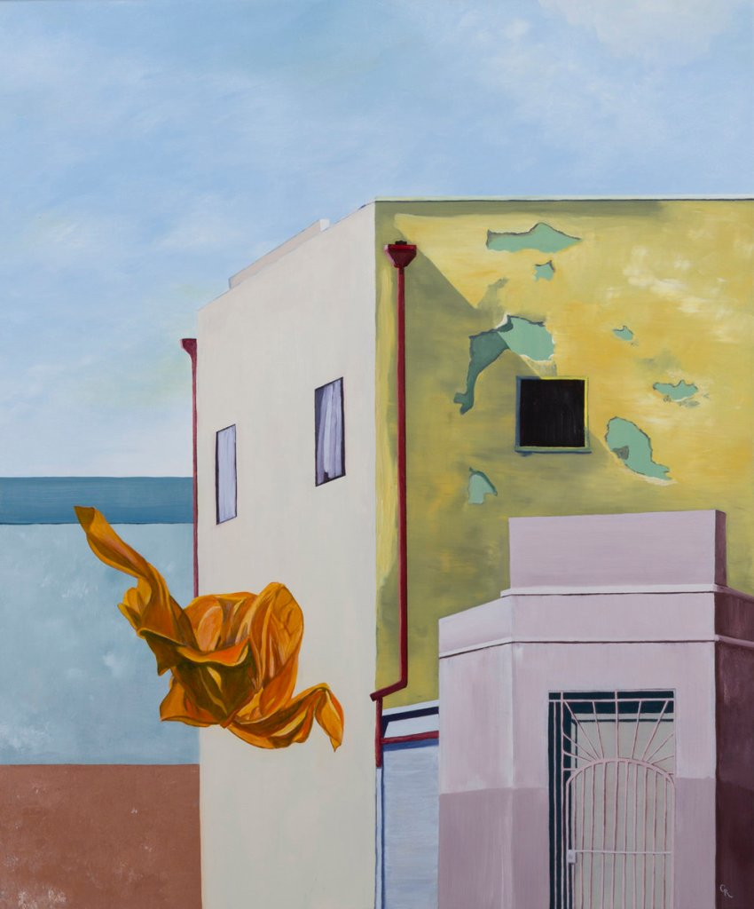 Painting of an orange garment floating in front of building.
