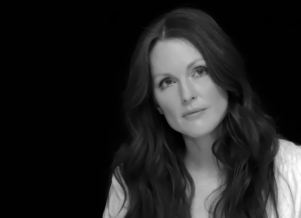 Digital artwork of Julianne Moore, the photo is done in black and white, and is a realistic styled drawing.