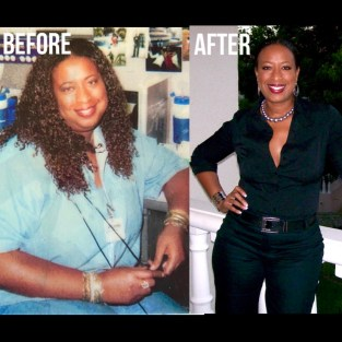 Before and after weight loss photos of author Mylitta Butler