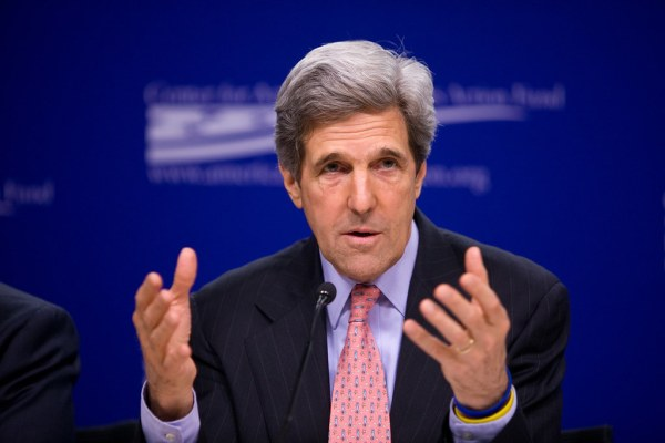 Kerry on panel discussing political issues.