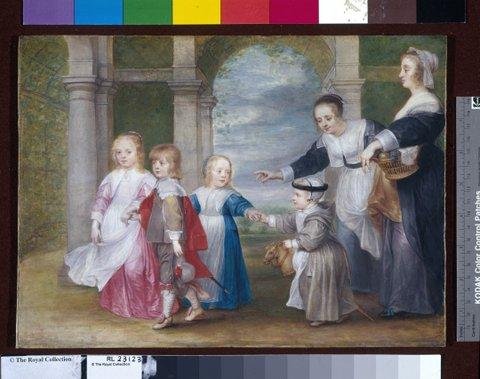 28. Philip Fruytiers, Portret van vier kinderen van P.P. Rubens en Helena Fourment met twee dienstmeisjes, ca. 1638-1639, tekening in gouache, 24,6 x 33,6 cm Londen, The Royal Collection, Print Room, inv.nr. RCIN 452433. Royal Collection Trust / © Her Majesty Queen Elizabeth II 2015