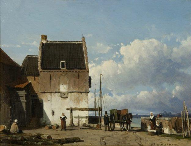 Jan Weissenbruch: De voormalige Bottelpoort bij de Oude Haven te Nijmegen, ca. 1850-1856 Olieverf op paneel, 18,8 x 25,2 cm Museum het Valkhof, Nijmegen