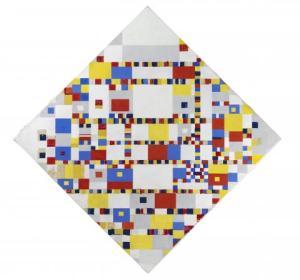 Piet Mondriaan [1872-1944], Victory Boogie Woogie, 1942-1944 (New York). Bruikleen van ICN, Amsterdam. Olieverf, tape, papier, houtskool en potlood op doek. Hoogte 127.5 cm en breedte 127.5 cm.
