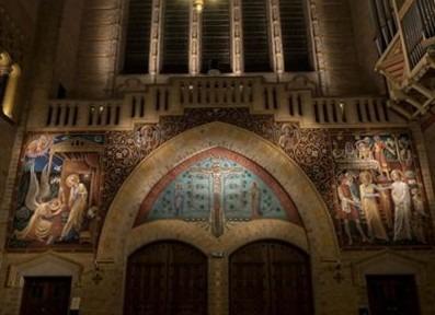 Han Bijvoet, muurschildering, st Bavo, annunciatie, engelen, bruioft te Kana, 1952,