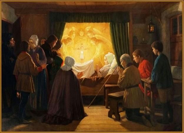Schilderij van Jan Dunselman (ca. 1890) in de Schiedamse basiliek van de H. Liduina en O.L. Vrouw Rozenkrans, voorstellende Liduina's eucharistisch visioen in 1412.