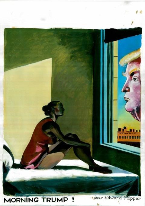 Lachen. Herr Seele / Kamagurka, MORNING TRUMP!, 10/11/2016 Acrylverf op papier Naar Edwar Hopper