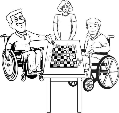 Frans Claessens, uit '' Beperkt en toch Genieten'', spelletje schaak