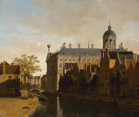 Hollandse Meesters uit de Hermitage, Gerrit Adriaenszn Berckheyde (1638-1698), gezicht op de Nieuwezijds Voorburgwal en het Stadhuis van Asterdam, 1690, olieverf opdoek, 53x63 cm.© State Hermitage Museum, St Petersburg