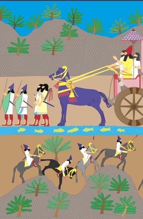 Reconstructie van de kleuren op Assyrisch reliëf Illustratie: Rijksmuseum van Oudheden, Lucas Petit Tentoonstelling 'Nineveh' | 20 oktober 2017 t/m 25 maart 2018