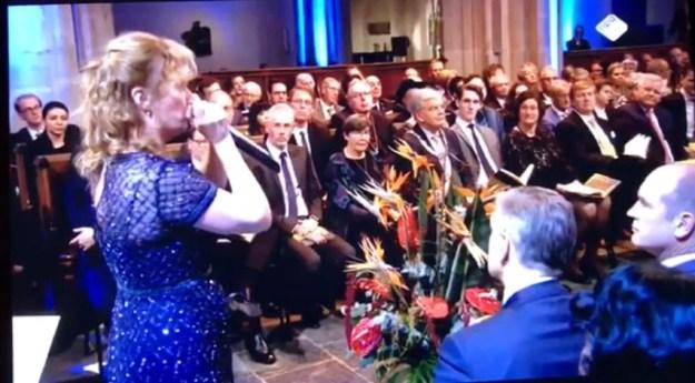 Viering 500 jaar Refomatie, Domkerk Utrecht 31 oktober 2017, rechts koning Willem-Alexander, links vooraan Sijbrand Buma (CDA), Gert-Jan Seegers (christenunie)