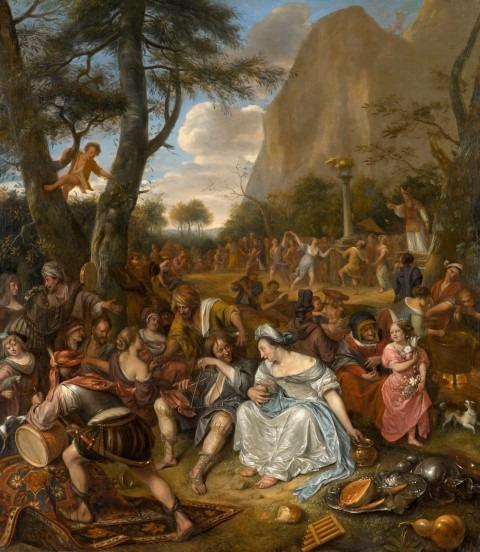 Historieschilder Jan Steen; de aanbidding van het gouden kalf. c 1674-1677, Doek: 178,4 x 155,6. North Carolina Museum of Art, purchased with funds from the State of North Carolina