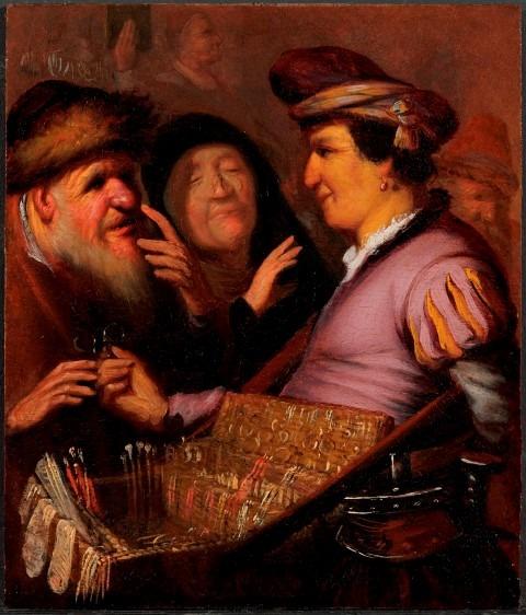 Museum De Lakenhal. Rembrandt van Rijn. Brillenverkoper. 1623.1624. olieverf op paneel. 21 x 17.8 cm.