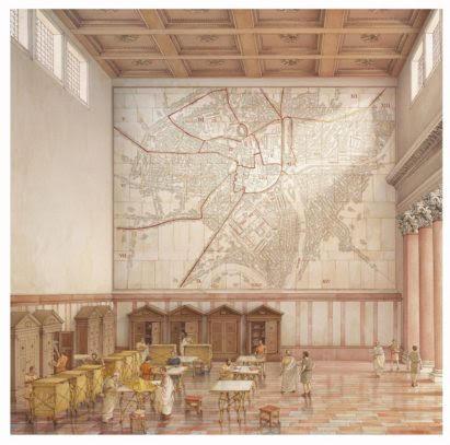 Reconstructie van de 2000 jaar oude kaart van Rome in de Tempel van de Vrede op het Forum Romanum