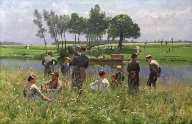 Doorwerken na je 65e bevordert de interactie tussen jong en oud, zoals ook op het schilderij van Claus Emile Picque Nicque 1887 Koninklijk Museum voor schone kunsten , Brussel