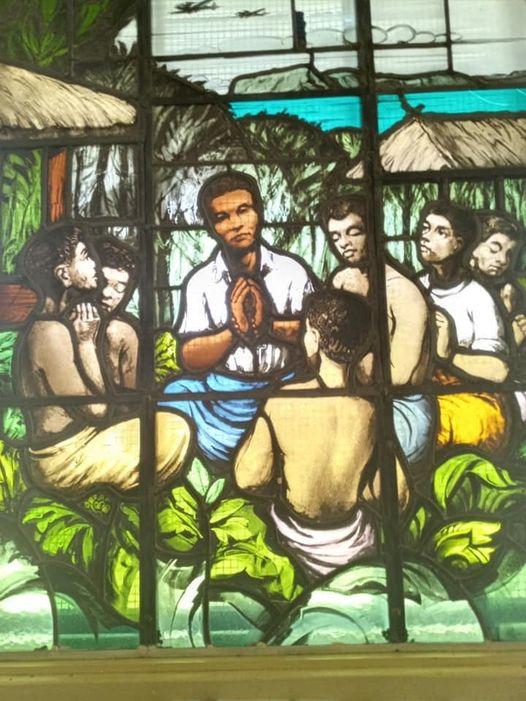 De inheemse martelaar de catechist Peter To Rot. De Jappen verboden kerkelijke activiteiten, maar Peter bleef het voortzetten. Dat kostte hem op 7 juli 1945 het leven