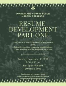 Resume Development Part 1 @ Cumberland County Public Library