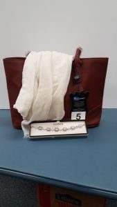 AmeriLeather 100% Cowhide Satchel Handbag with an ivory oblong scarf and a Napier bracelet - Retail Value $98.