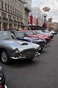 A gaggle of Aston DBs & V8s