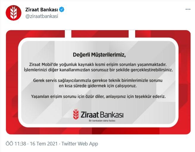 Son dakika: Ziraat Bankası'nın mobil uygulaması çöktü: Ziraat Bankası'ndan açıklama geldi 12