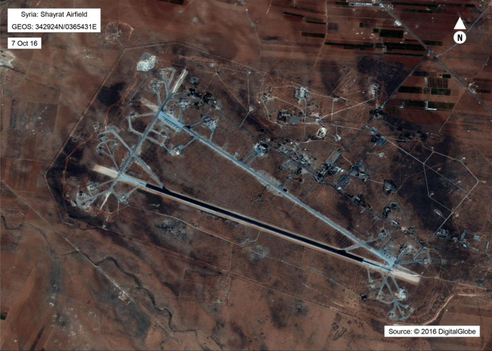 epa05893613 A handout photo made available by the US Department of Defense on 07 April 2017 shows an aerial view of the al-Shayrat Airfield near Homs, Syria, 07 October 2016. According to media reports on 07 April 2017, The United States military launched at least 50 tomahawk cruise missiles at al-Shayrat military airfield near Homs, Syria, in response to the Syrian military's alleged use of chemical weapons in an airstrike in a rebel held area in Idlib province on 04 April.  EPA/US DEPARTMENT OF DEFENSE / HANDOUT  HANDOUT EDITORIAL USE ONLY/NO SALES