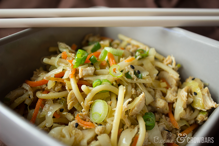 Easy Asian Inspired Chicken and Noodles | www.cupcakesandcrowbars.com @cupcakescrowbar