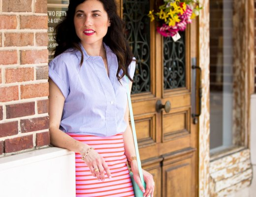 Striped Skirt + Top for Work | www.cupcakesandthecosmos.com