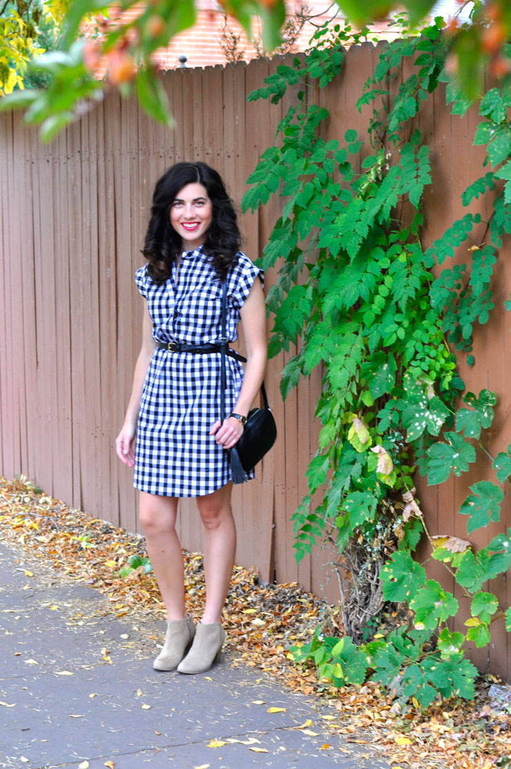 How To Wear A Gingham Dress This Fall