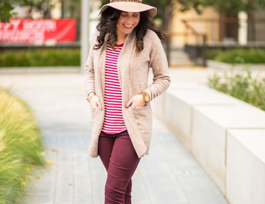 Madewell Maroon Jeans and Striped Tee for Fall | www.cupcakesandthecosmos.com