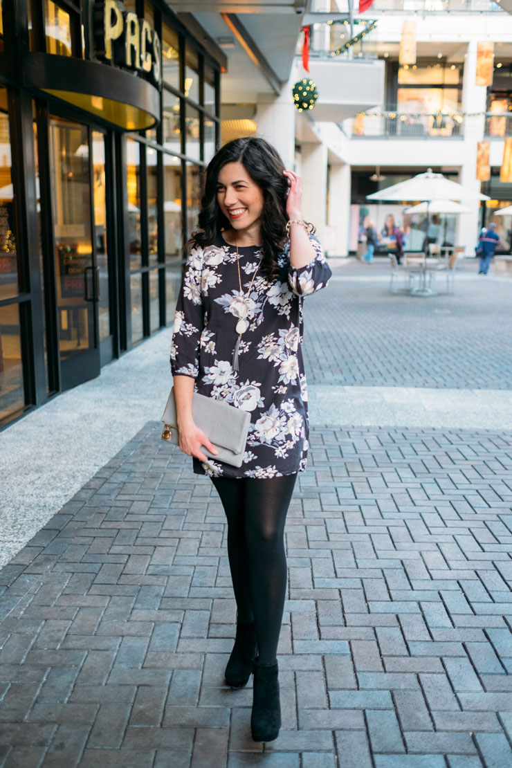 Four Ways To Style A Floral Dress in Winter: Date Night | www.cupcakesandthecosmos.com
