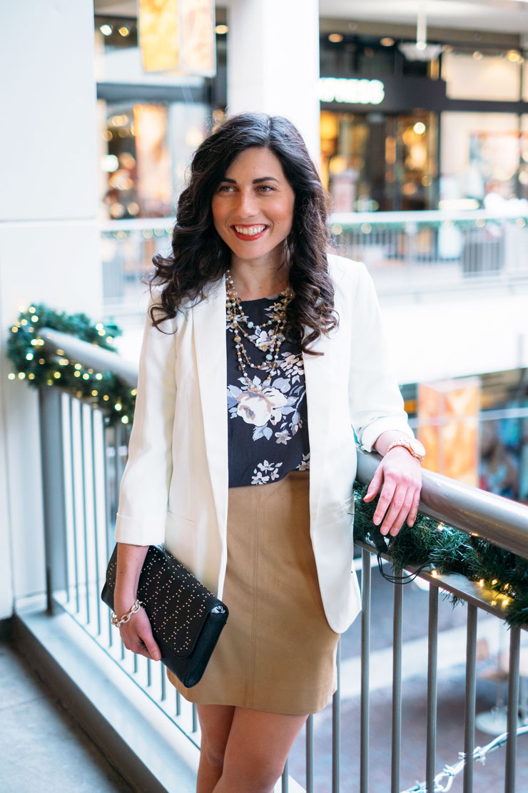 Four Ways To Style A Floral Dress in Winter: Work Wear | www.cupcakesandthecosmos.com