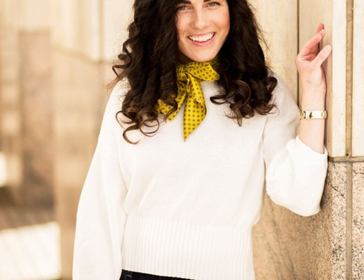 White Puff Sleeve Sweater with a Yellow Bow Neck Scarf | www.cupcakesandthecosmos.com